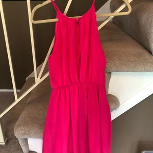 Hot pink high neck dress